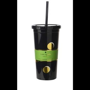 Kate Spade tumbler with straw scatter dot New